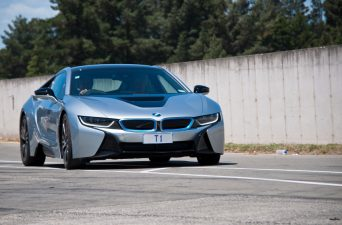Christchurch,New Zealand - November 28,2015  BWW i8 Hybrid sports car on display at the  Motorsport Park in Christchurch, New Zealand. The BMW i8, first introduced as the BMW Concept Vision Efficient Dynamics, is a plug-in hybrid.